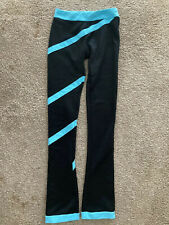 ny2 Sportswear Girl Skating Polar Fleece Pants, Black Teal Blue Swirl, Sz Large