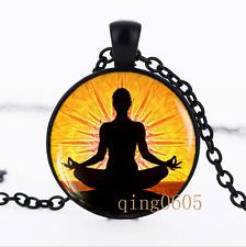 Yoga Meditation photo Glass Dome black Chain Pendant Necklace wholesale