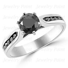 1.75ct Fancy Black Diamond 6 Prong Engagement Ring 14k White Gold Channel Set