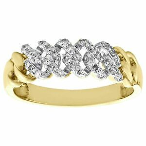 14K Yellow Gold Over Round Diamond Cuban Link Statement Band Pave Ring 2CT