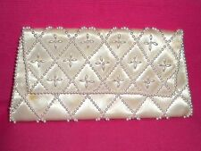 Stunning Vintage Ivory Silk Clutch With Pearl Detail.