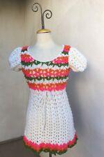 Vintage Boho Micro Mini Crochet Dress Baby Doll Style Sz Xs