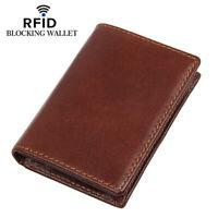 100% Genuine Leather RFID Blocking ID Card Holder Coin Purse Bifold Wallet