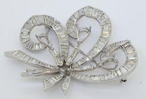 Vintage 1950s heavy Platinum 9.60CTW VS diamond ribbon brooch semi-mount/setting