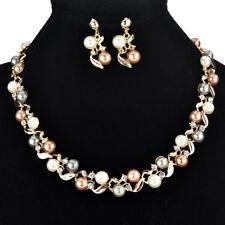 Fashion Crystal Pearl Pendant Bib Choker Statement Necklace Earrings Jewelry Set