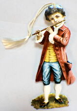 Victorian Paper Bookmark With String Tassel Little Boy Playing A Flute