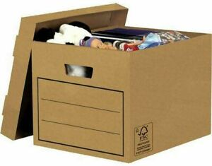 10 Large Strong CardBoard Archive Storage Boxes Lids Office Durable Box File New