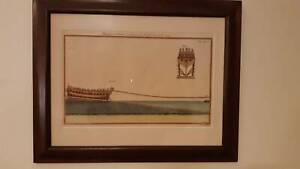2X VINTAGE FRAMED PRINTS FRENCH TECHNICAL DRAWING - INK & WATERCOLOUR