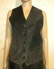Superb Grey Black Front Suede and Other GALLAGER Button Western Waistcoat Size L