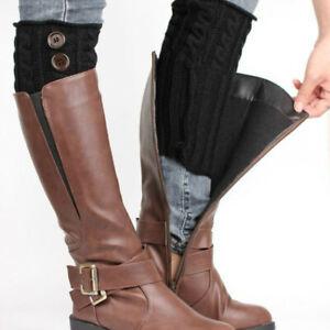 Womens Knitting Wool Leg Thermal Short Button Winter Windproof Trendy Boot Cuffs