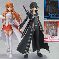 2Pcs Sword Art Online SAO Asuna Kirito PVC Action Figure Figma Figurine Gift Toy