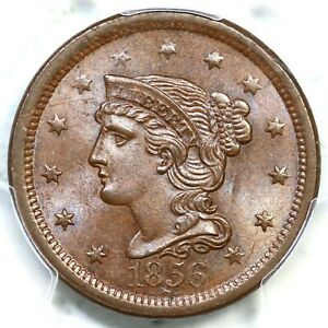 1856 N-2 PCGS MS 64 BN Slanted 5 Braided Hair Large Cent Coin 1c
