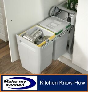 Hafele City Kitchen Pull Out Recycling Waste Bin 2 x 12ltr  For 400mm Unit