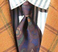 Ermenegildo Zegna Brown, Blue, Green, & Gold Paisley Silk Tie - Italy - $195.00