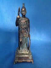 Vintage Athena Bronze Statue Marble Base Made In Greece B.M.
