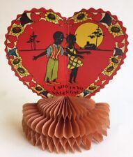Vintage Black Americana Pop Out Honeycomb Antique Valentine Card
