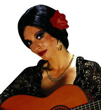 Ladies Spanish Lady Black Wig w/ Flower Flamenco Latino Senorita Fancy Dress