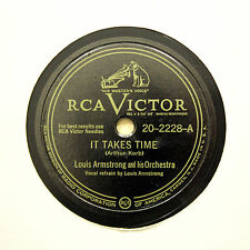"""LOUIS ARMSTRONG & HIS ORCHESTRA """"It Takes Time"""" VICTOR 20-2228 [78 RPM]"""
