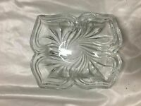 Vintage Pressed Glass Clear Candy Dish, serving Bowl Square 5 X 6""