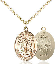 14K Gold Filled St Michael The Archangel Natl Military Catholic Medal Necklace