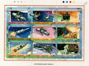 History of Space Exploration 1957-1989 Spacecraft Stamp Sheet #2 (Sierra Leone)
