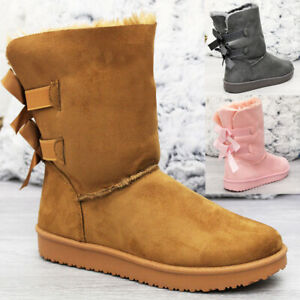 Ladies Fur Lined Flat Bow Ankle Boots Women Snow Snug Winter Warm Mid Calf Shoes