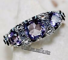2CT Amethyst & White Topaz 925 Solid Sterling Silver Art Deco Ring jewelry Sz 6