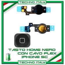 TASTO HOME BUTTON COMPLETO FLAT FLEX PER APPLE IPHONE 5C BOTTONE NERO BLACK