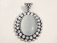 Jewellery - Silver Tone Frosted Glass & Rhinestone Pendant - Deceased Estate