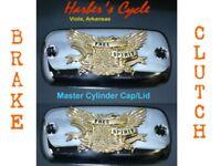 Honda GL1500 Goldwing 1500 -CHROME/GOLD clutch & brake master cylinder caps/lids