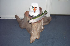 Bald Eagle & Fish Wood Carving Art Red Cedar Sculpture