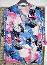 Sehr schönes neues Stretch T-Shirt Shirt RABE 40 - 42 weiß pink blau