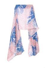 Pastel Pink / Royal Blue Abstract Graphic Print Butterfly Statement Scarf (S15)