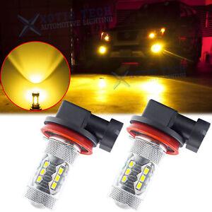 2x H8 H11 H9 3500K Gold Yellow 2500LM High Power LED Bulbs Fog Driving Light DRL