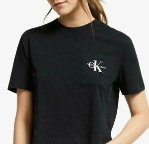 Calvin Klein Girls' Monogram Pocket Logo T-Shirt, Black White Size L 14 XL 18-20
