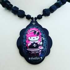 Tarina Tarantino Hello Kitty Gothic Pinkhead Collection Black Bead Necklace