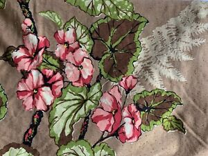 Vintage 1930'S Floral & Fern BARKCLOTH Drapery (1) Lined Curtain Panel (Fabric)