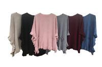 Womens Ladies Italian Plus Sizes Pockets Poncho Fine Knitted Winter Cape Shawl