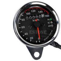 Motorcycle Gauges Dual Odometer KMH Speedometer Gauge LED Backlight Signal Light