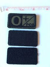 Tactical Blood Type Embroidered Velcro Patch: O Positive  (O+)