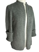 Benetton Wool Sweater Cardigan Sz Sm Sm S Gray Open Front Big Cuffs Mottled