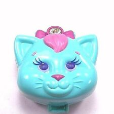 Polly Pocket Compact Bluebird Vintage Blue Cuddly Kitty Face Compact 1993 +1 Cat