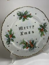 1 ANTIQUE TMJ HOLLY MERRY XMAS Christmas Plate Luster Ware  (more Available)