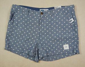 NEW Old Navy Everyday Mid-Rise Linen Blend Womens Blue White Polka Dot Shorts 18
