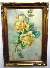 Aquarelle Art Déco de 1934, cadre bois doré, signée I. LEGUILLOU: Roses jaunes