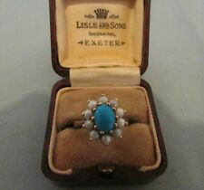 STUNNING VINTAGE HALLMARKED 9CT GOLD TURQUOISE & PEARL RING SIZE K 3.44 GRAMS