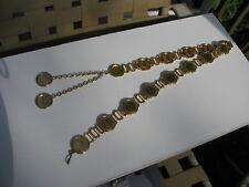 "Vtg. Regina F D Elizabeth Iidei Gratia Half Penny Gold Coin Money Belt 31 1/2"""