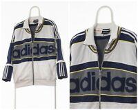 90s Vintage Mens ADIDAS ORIGINALS Tracksuit Track Top Jacket White Blue Size L