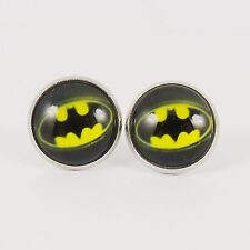 BATMAN LOGO STUD EARRINGS dark knight bat studs dc super hero 80s retro comic