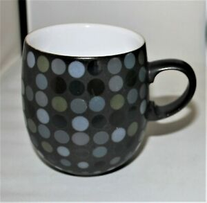"Denby China -  ""Jet Dots"" Large Curve Coffee/Tea Mug-Black with Multicolor Dots"